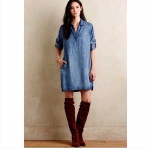 Anthropologie Cloth Stone Chambray  Tunic Dress